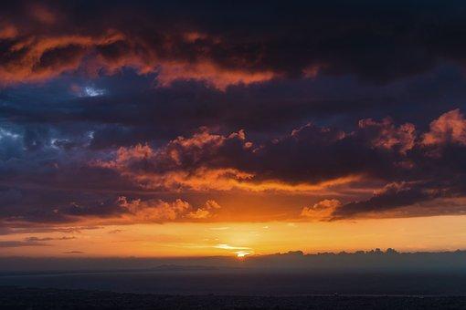 Sunset, View, Peak, Dark, Clouds