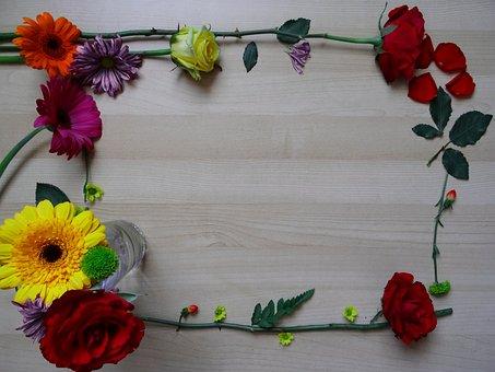 Frame, Border, Flower, Background, Wood, Flower Frame