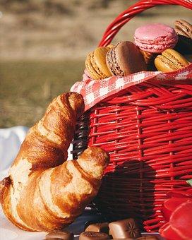 Picnic, Food, Bread, Dough, Basket, Grass, Park