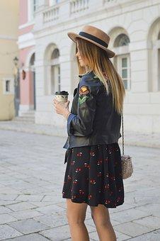 People, Woman, Fashion, Leather, Jacket, Bag, Skirt