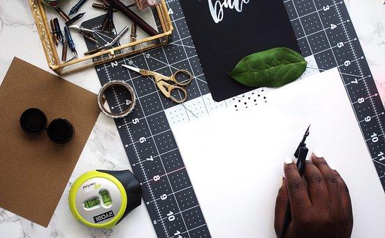 Ruler, Scissors, Compass, Design, Art, Leaves