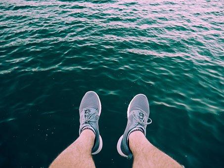 Sea, Ocean, Water, Wave, Nature, Legs, Shoe, Sneakers