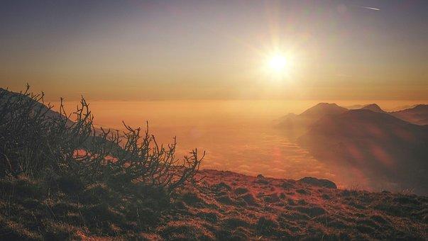 Sunset, Highland, View, Sun, Mountain, Nature