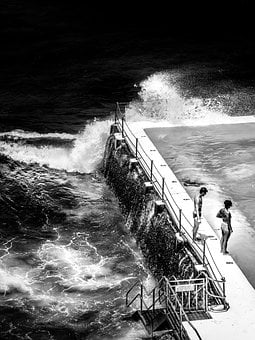 Sea, Ocean, Water, Pool, Black And White, Fence, People