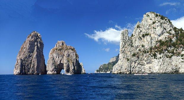 Faraglioni, Rock, Capri, Italy, Panorama, Coast