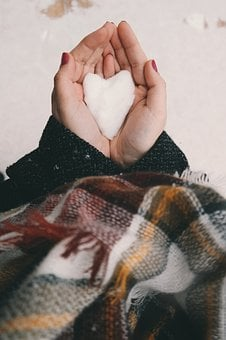 People, Hand, Snow, Winter, Cold, Weather, Heart, Cloth