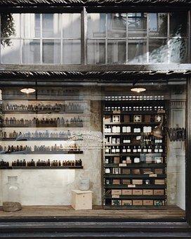 Building, Perfume, Shelf, Bottles, Boxes