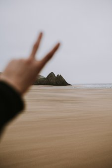 Sea, Ocean, Sand, Travel, Beach, Peace, Hand, Finger