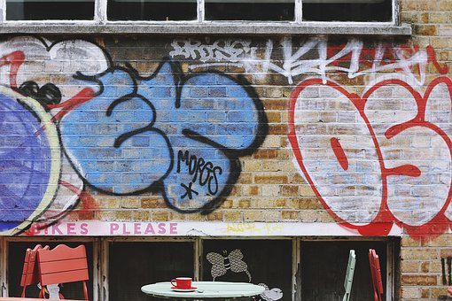 Wall, Bricks, Paint, Vandal, Art, Letters, Table