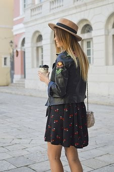 People, Woman, Fashion, Leather, Jacket, Bag, Skirt