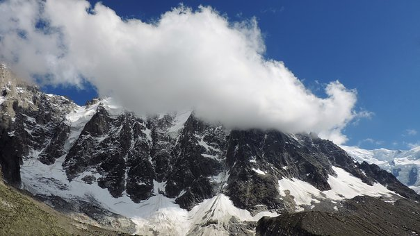 Mount Blanc, Mountains, The Clouds, The Sky, Snow, Alps