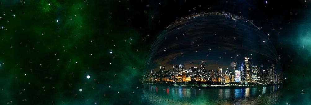 Bubble, City, Universe, Skyline, Ball, Soap Bubble