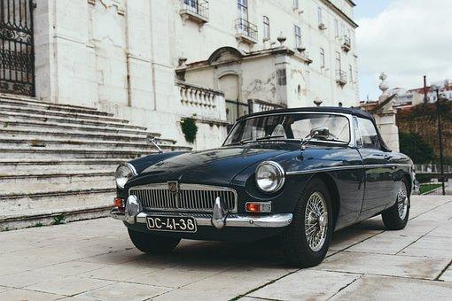 Car, Vehicle, Vintage, Bricks, Building, Headlight