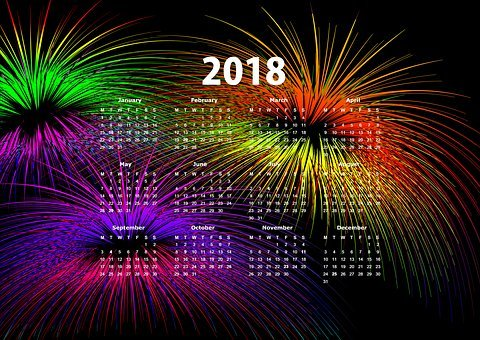 Calendar, New Year's Day, New Year's Eve, 2018