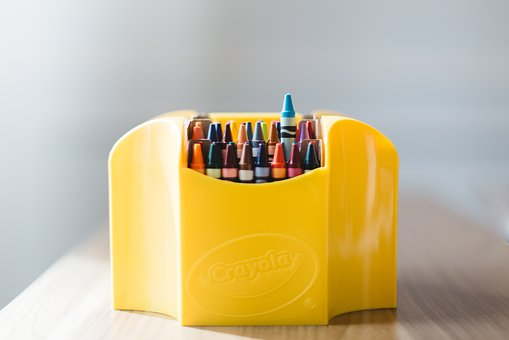 Crayons, Art, Case, Colorful, Wooden, Table, School