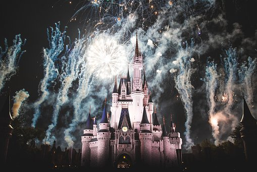 Disney Land, Castle, Night, Dark, Evening, Lights