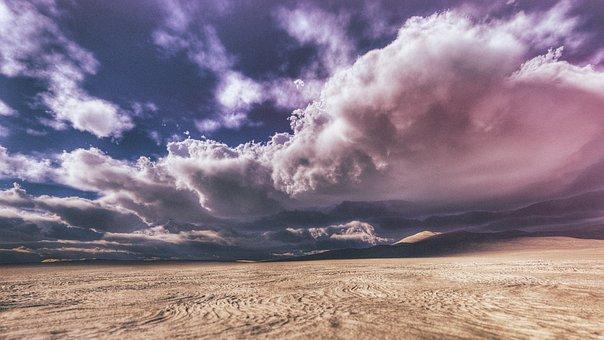 Desert, Field, Clouds, Sky, Outdoor, View