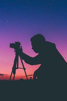 Silhouette, Man, Guy, Photographer, Shooting, Dslr