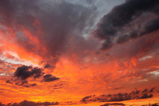 Evening Sky, Storm Clouds, Dramatic, Red, Orange, Sky