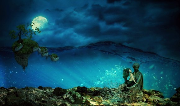 Sea, Mermaid, Mystical, Water, Female, Fantasy
