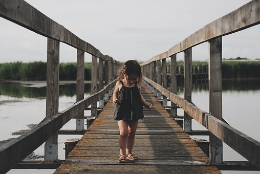 Kid, Chils, Girl, Walking, Wooden, Bridge, Platform