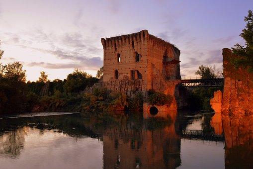 Torre, Reflection, Water, Medieval, Mincio, River
