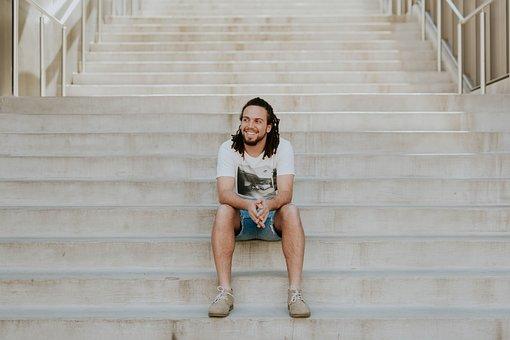 Stairs, Stairway, People, Guy, Man, Sitting, Alone