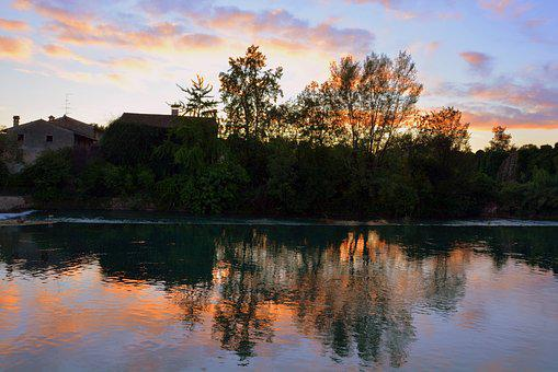 Sunset, Mirror, Reflection, Water, River, Mincio, Italy