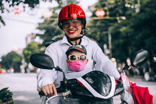 Mother, Son, Riding, Motorcycle, Helmet, Eyeglasses