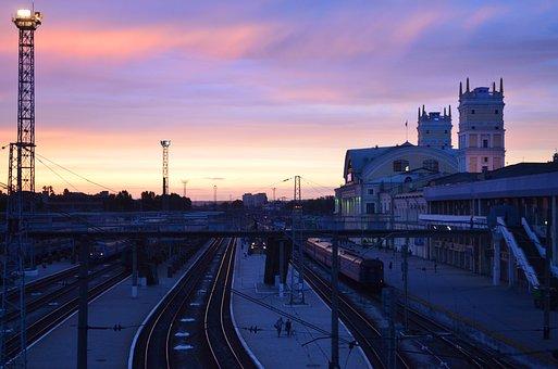 Station, Sunset, Rails, Bridge, Stand By, Trains