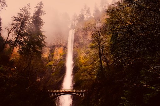 Multnomah Falls, Waterfall, Mountains, Fog, Haze