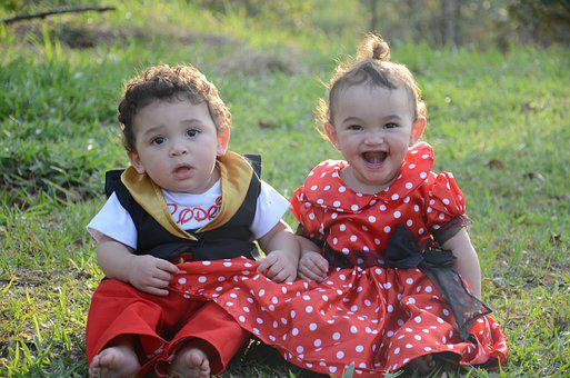 Children, Babies, Mickey, Minnie, Park, Nature, Happy