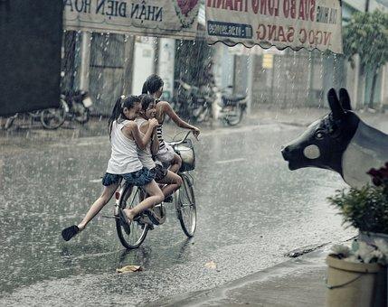 Children, Happy, Playing, Riding, Bicycle, Rain, Plants