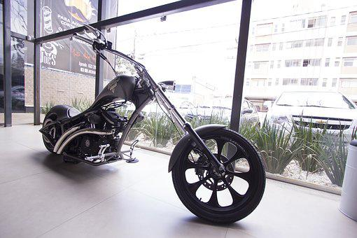 Bike, Wheels, Display, Glass, Window, Big, Motorcycle