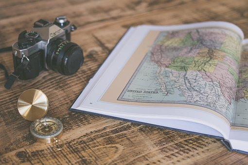 Book, Map, Geography, Compass, Travel, Camera