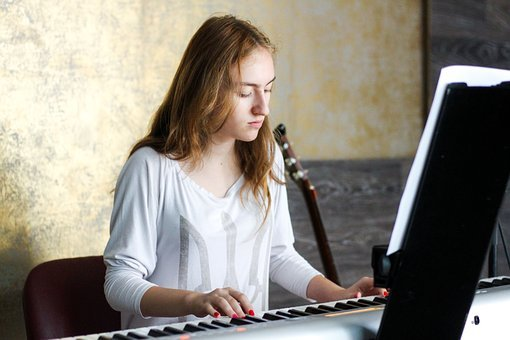 Piano, Pianist, People, Woman, Lady, Chair, Guitar
