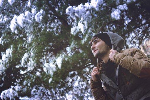 Man, Guy, Hoodie, Cold, Jacket, Winter, Trees, Snow