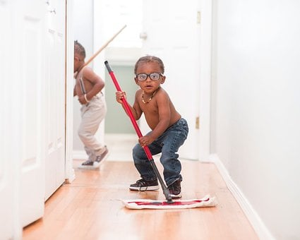 Kid, Child, Boy, Mopping, Jeans, Wooden, Floor