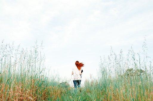 People, Woman, Lady, Plants, Grass, Tree, Field, Back