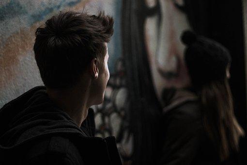 People, Man, Dark, Street, Wall, Paint, Graffiti, Happy