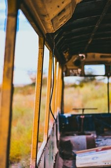 Nature, Green, Grass, Bus, Old, Vintage, Recycled