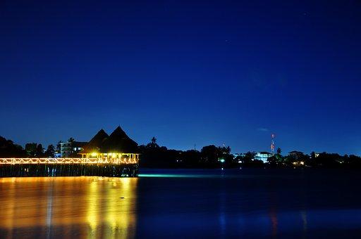 Water, Reflection, Blue, Night, Illuminated, Sky