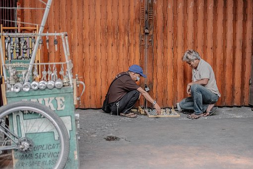 People, Man, Old, Street, Chess, Board Game
