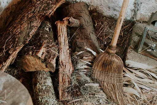 Broom, Trunk, Log, Old, Dry, Chop, Steel, Wood, Wooden