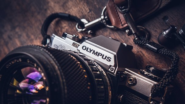 Camera, Olympus, Lens, Dslr, Black, Lace, Wooden, Table