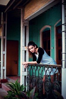 People, Girl, Alone, Terrace, Outside, House, Green