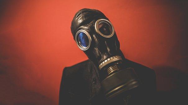 People, Man, Guy, Mask, Gas Mask, Black, Wall, Dark