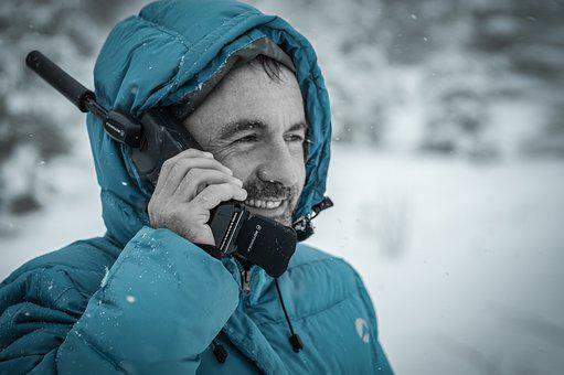 People, Man, Happy, Smile, Radio, Snow, Winter, Cold