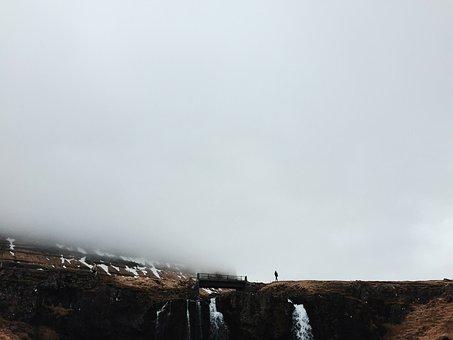 Bridge, Mountain, Rock, Formation, Man, Guy, Snow