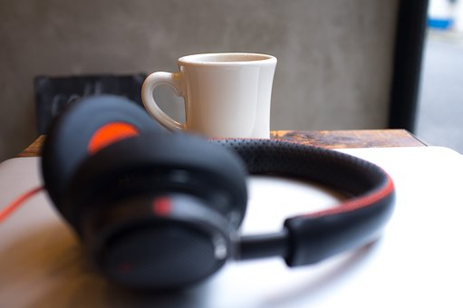 Headphone, Sound Trip, Mug, Table, Bokeh, Black, Gadget